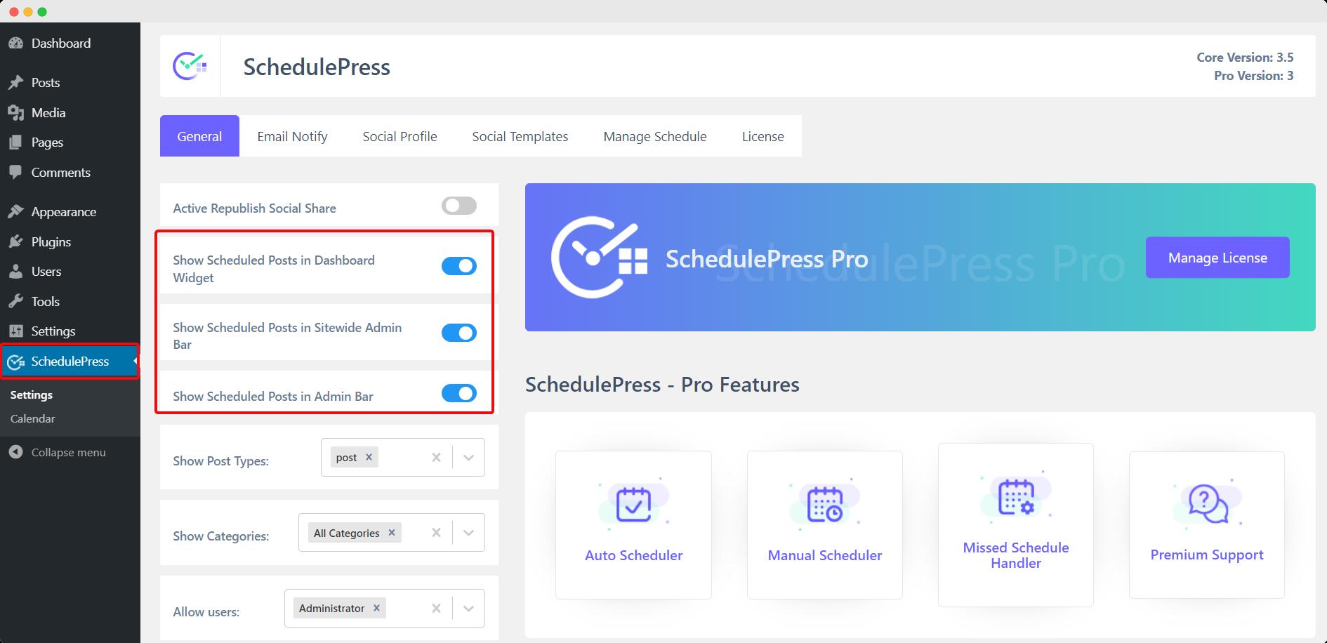 SchedulePress display options