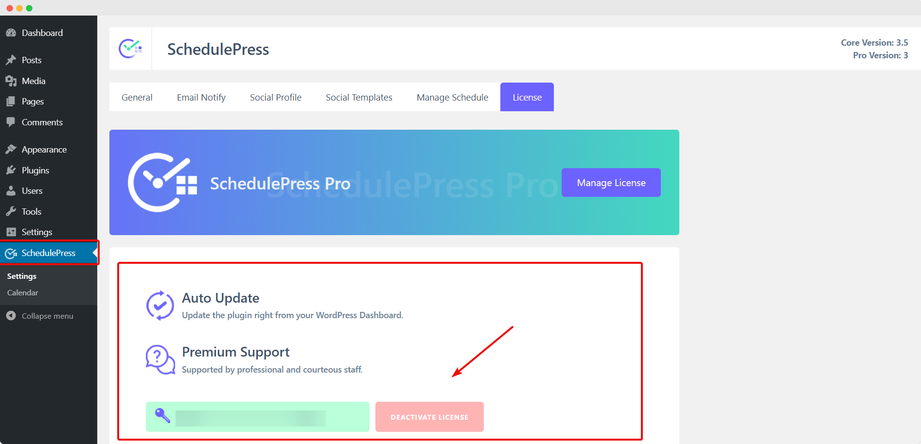 install and activate SchedulePress Pro