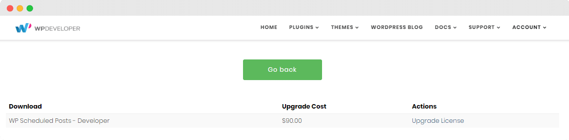 PAckage upgrade cost, license upgrade, WPDeveloper, WordPress