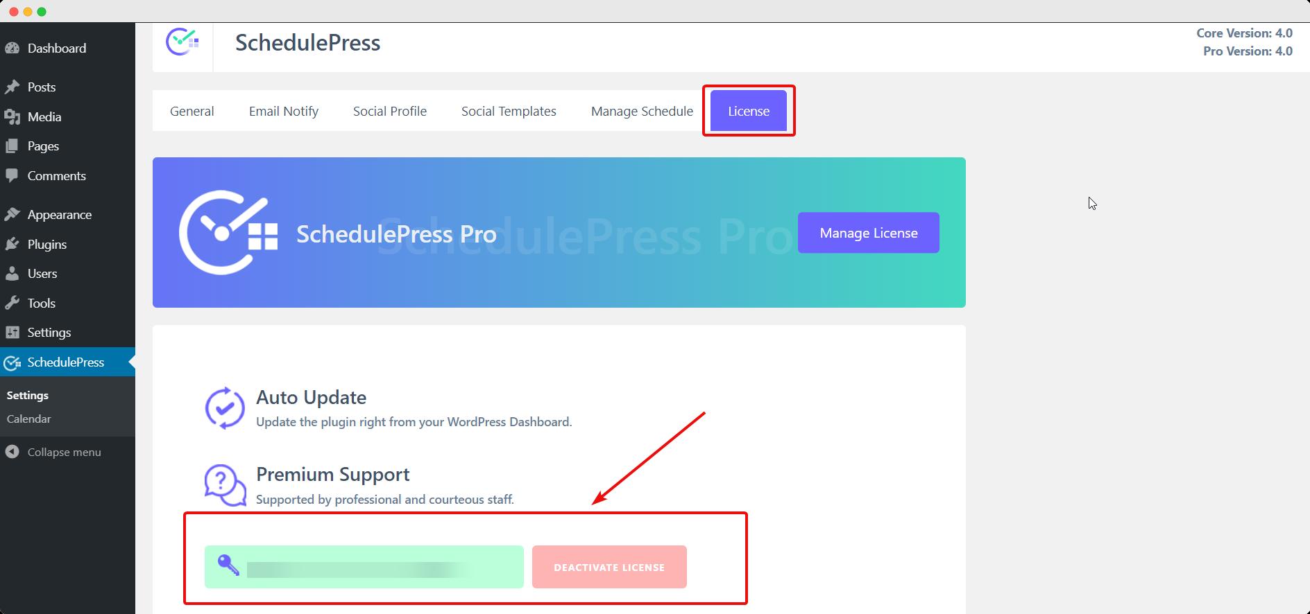activate SchedulePress Pro license