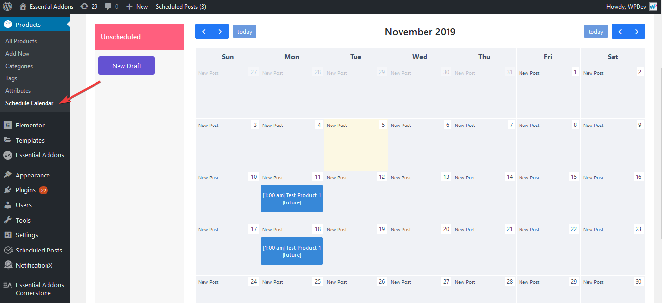 Schedule Pages and Custom Post Types