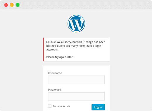 locked out error WordPress