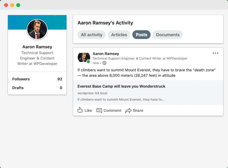 Share WordPress Posts on LinkedIn
