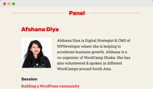 Afshana Diya WordCamp Asia