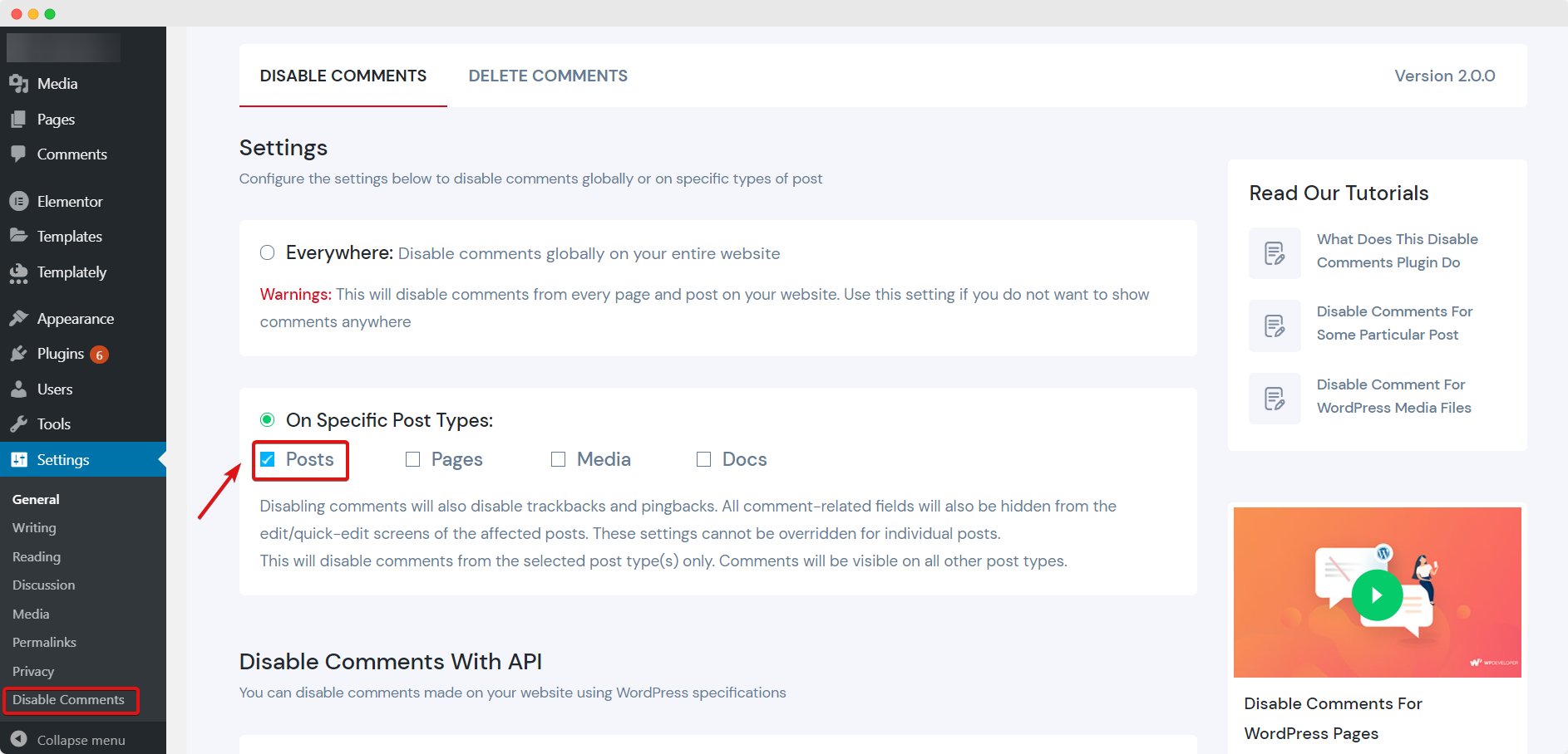 Disable Comments For WordPress Posts