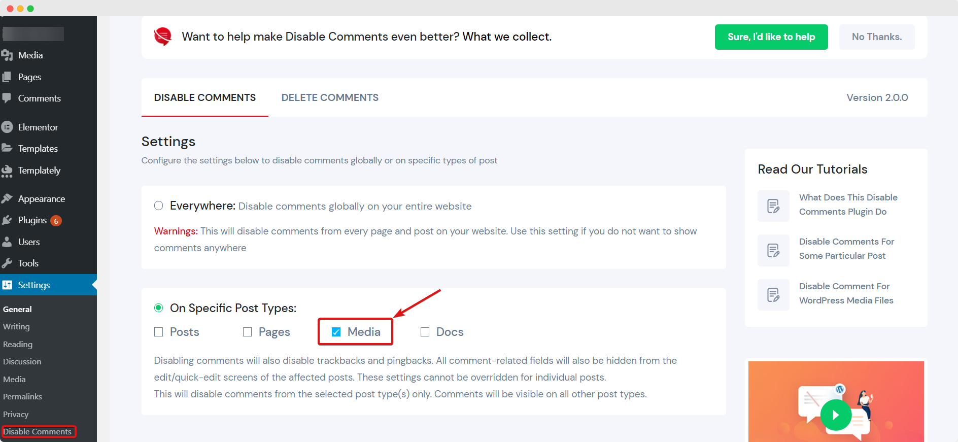 Disable Comments For WordPress Media Files