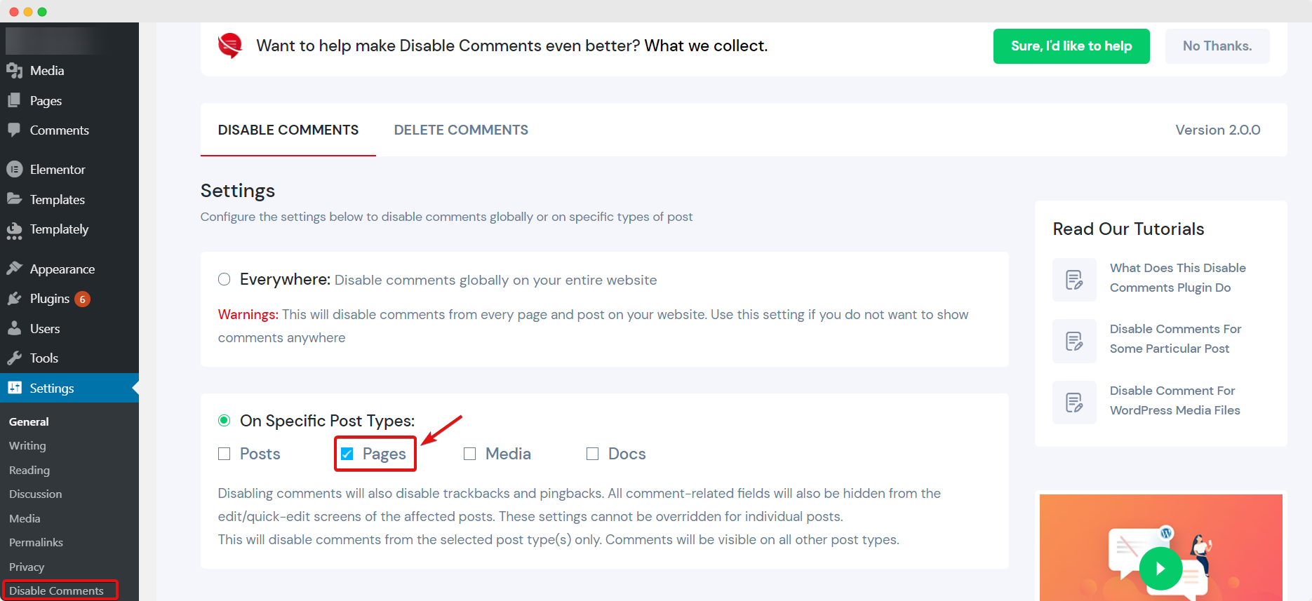 Disable Comments For WordPress Pages
