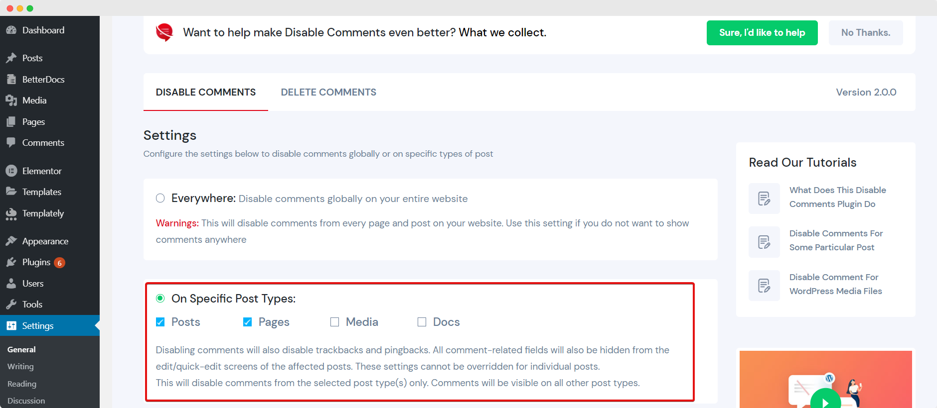 Disable Specific Types Of Posts