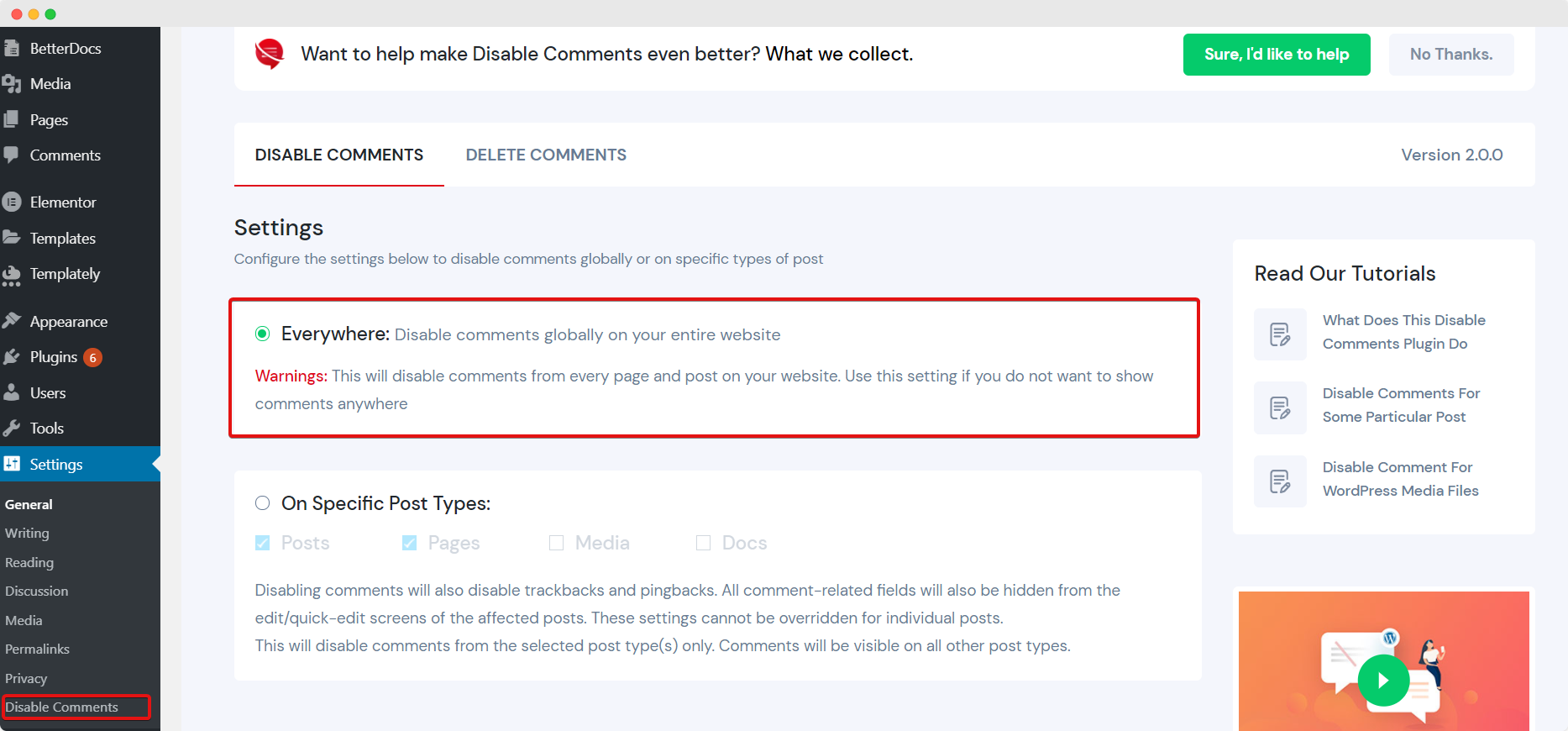 Configure Disable Comments