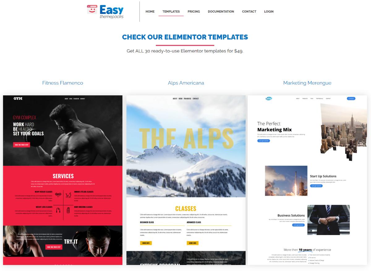 Elementor templates library