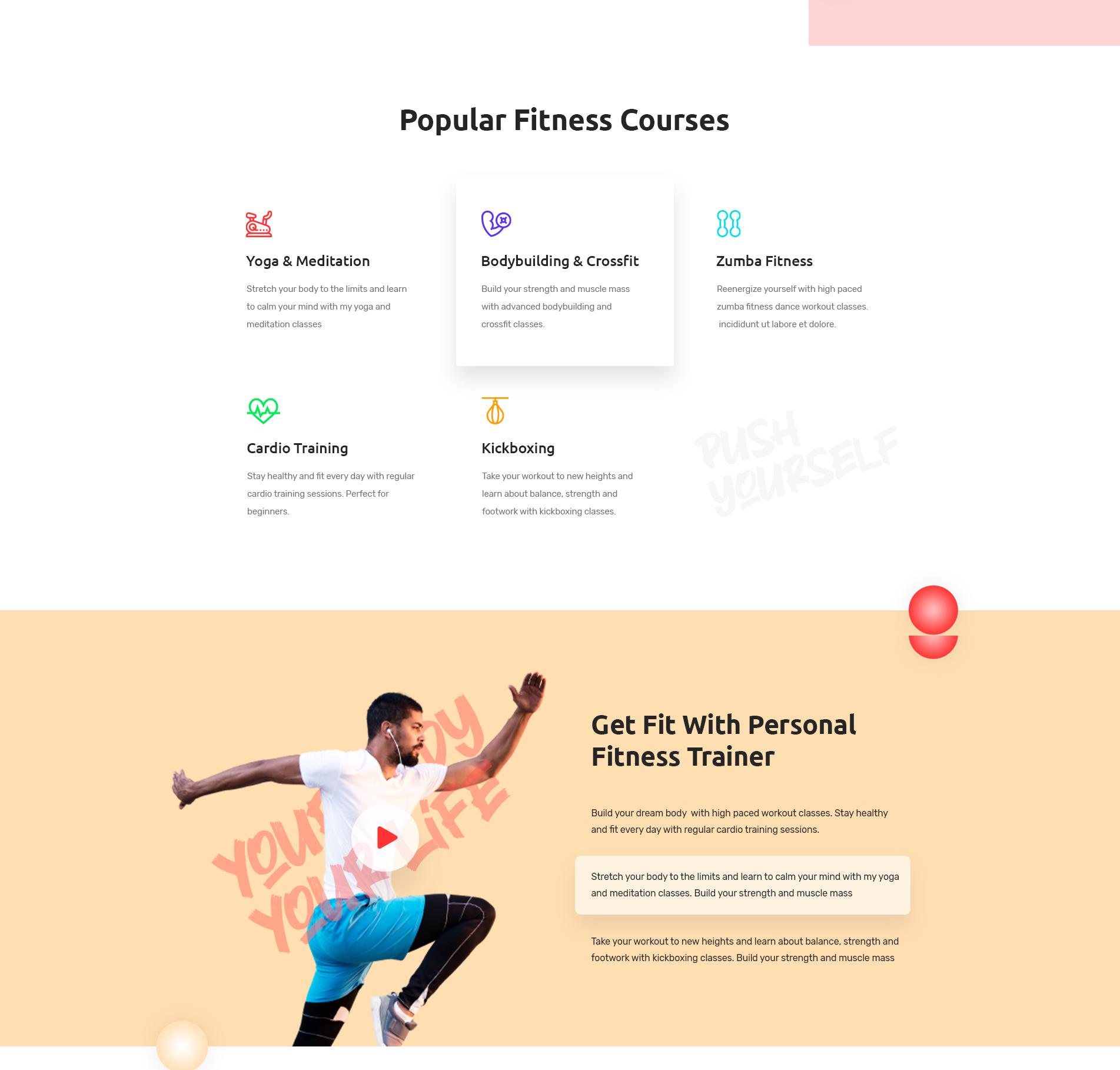 Fitness website Elementor
